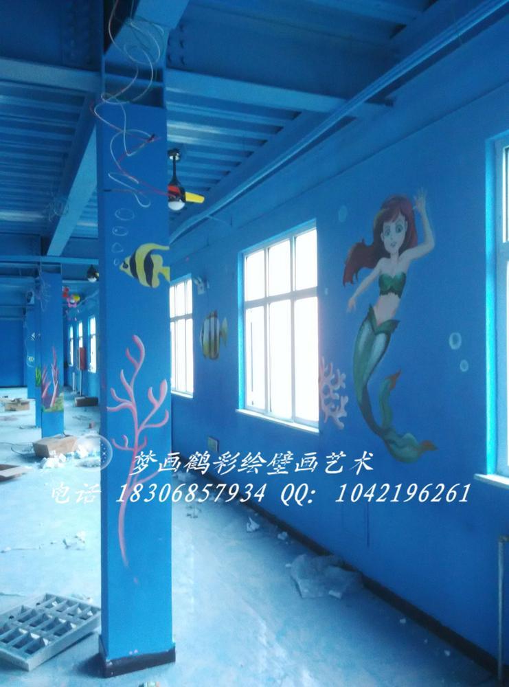 梦画鹤彩绘壁画艺术作品展示